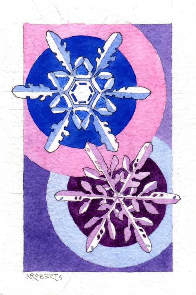 """Two Snowflakes"" original fine art by Nancy Roberts"