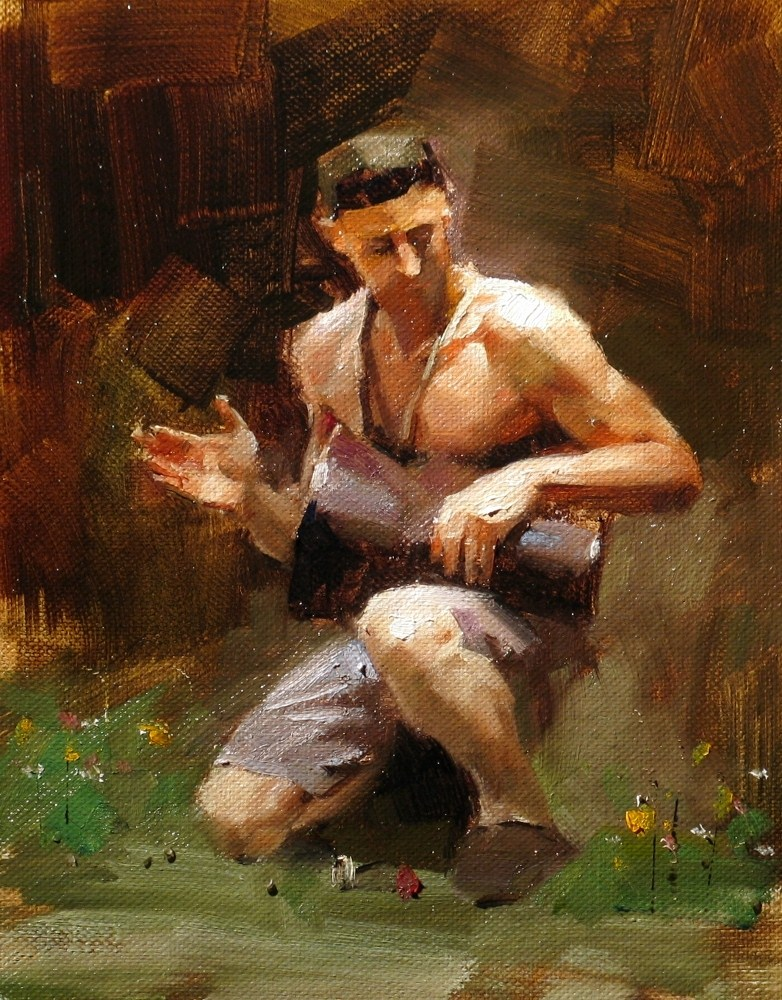 """A Lonely Drummer"" original fine art by Qiang Huang"
