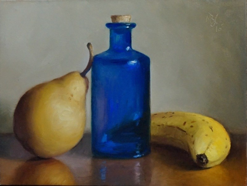"""Blue Bottle and Fruit"" original fine art by Debra Becks Cooper"