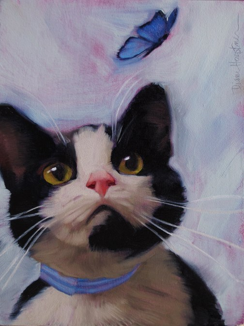 """Cat and Butterfly an oil painting by Hoeptner"" original fine art by Diane Hoeptner"