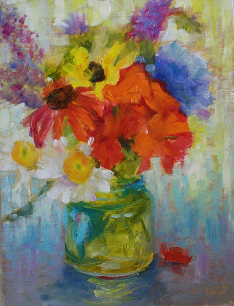 """Summer Flowers/ Ball Jar #3"" original fine art by Sue Churchgrant"