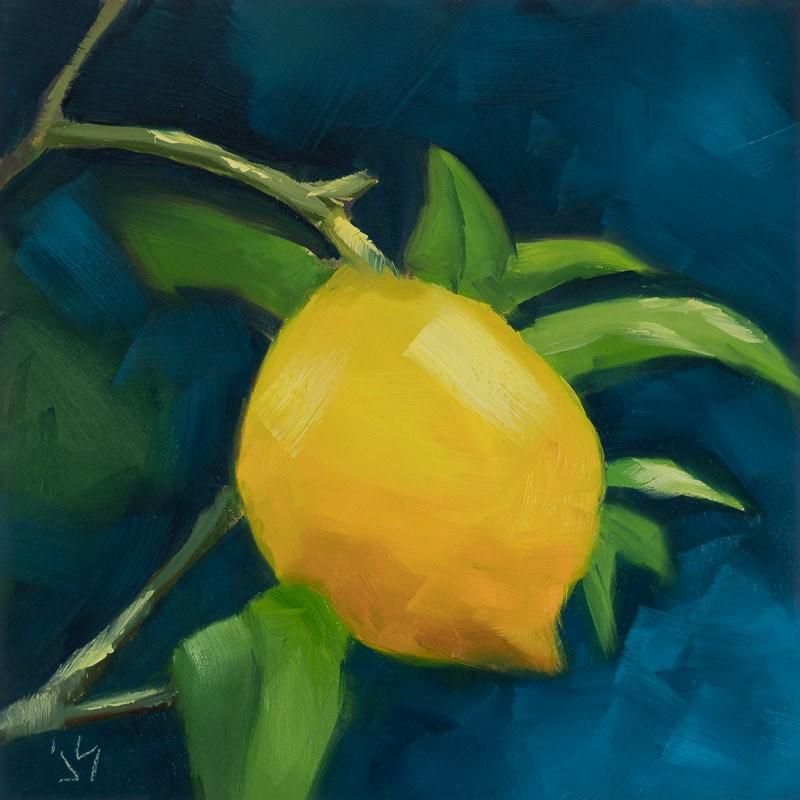 """Orange is the New Lemon (6 x 6) $155"" original fine art by Johnna Schelling"
