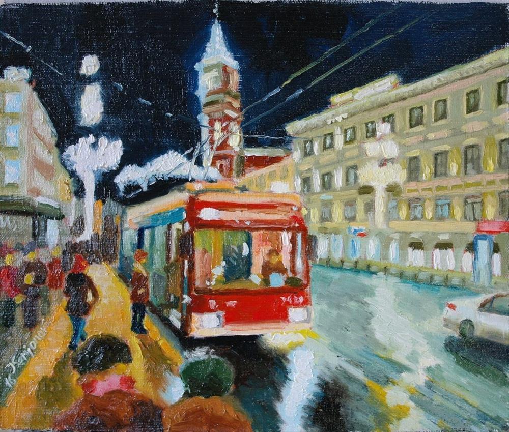 """""""red trolley"""" original fine art by Yuriy Semyonov"""