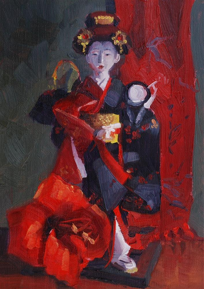 """""""Japanese Doll with Amaryllis Flower and Scarf"""" original fine art by Susan McManamen"""