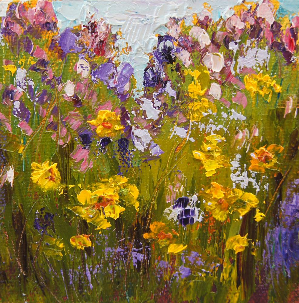 """Wildflowers Miniature Treasure painitng"" original fine art by Marion Hedger"