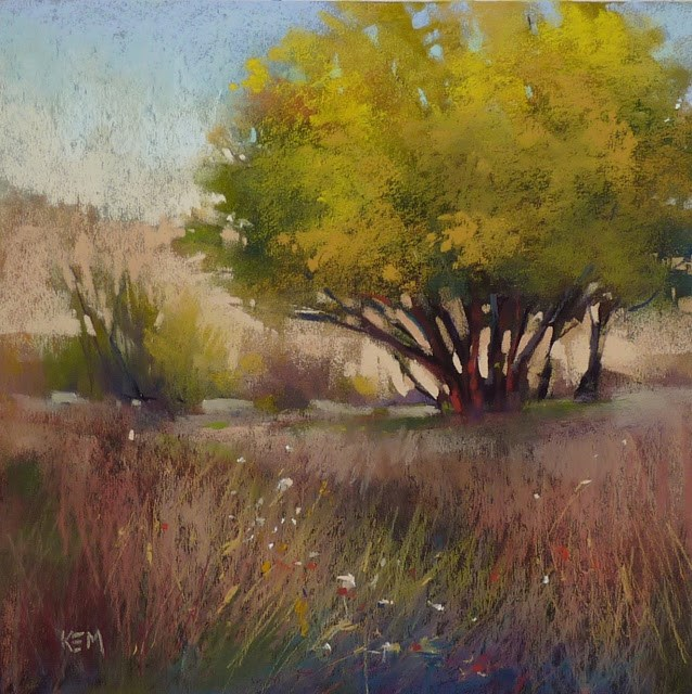 """10 Steps to a Yellow Tree Painting"" original fine art by Karen Margulis"