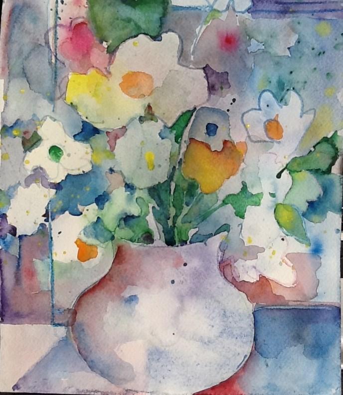 """funky flowers"" original fine art by meribeth coyne"