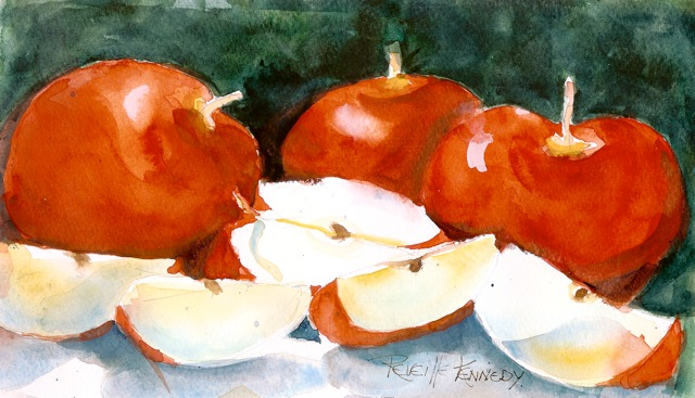 """Eve's snack  original watercolor"" original fine art by Reveille Kennedy"