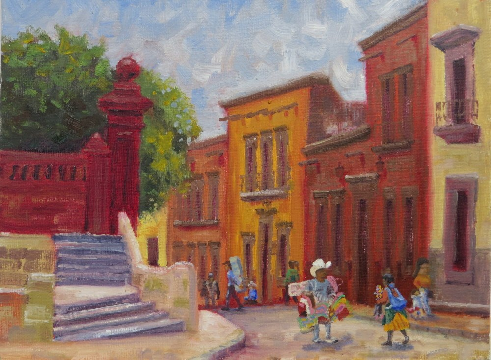 """Vendor in a Colorful City"" original fine art by Richard Kiehn"