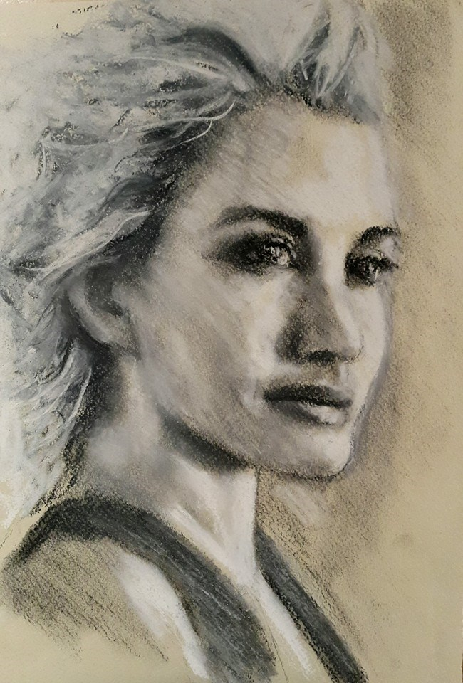 """Portrait in charcoal"" original fine art by Rentia Coetzee"