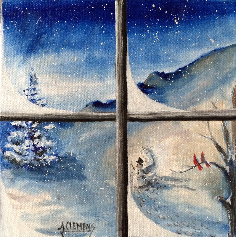 """Winter Window"" original fine art by Jolynn Clemens"