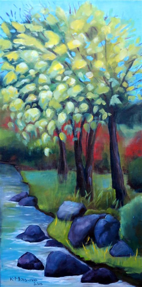 """Landscape with River"" original fine art by Kulli Maslova"