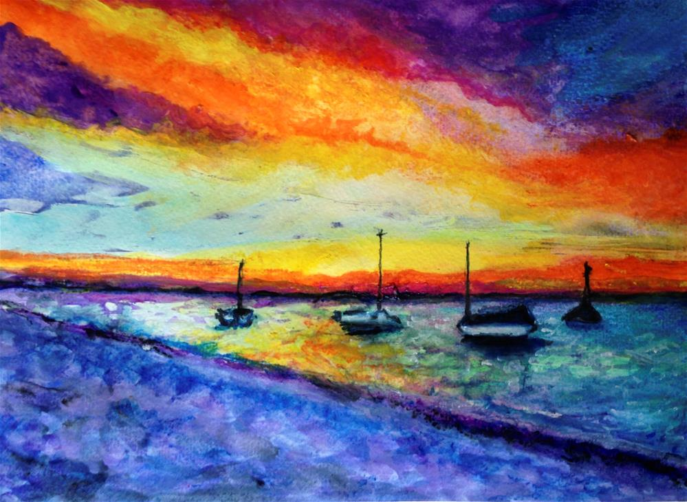 """Rainbow ocean"" original fine art by Barbara Beckmann"