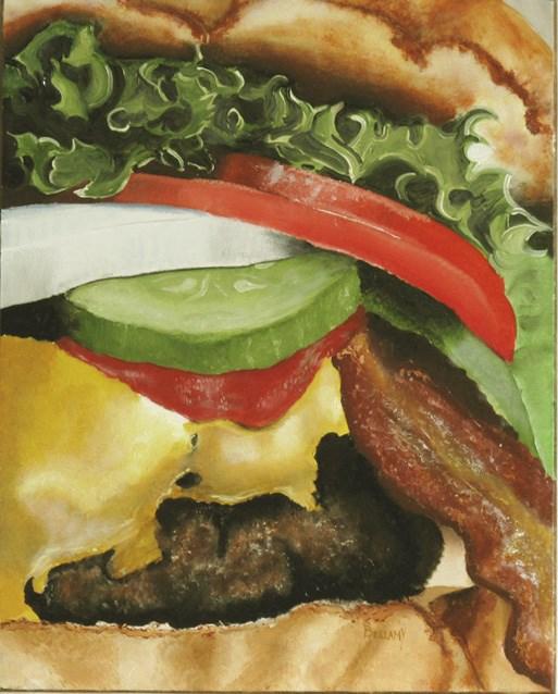 """The Inner Life of a Cheeseburger"" original fine art by Sherry Bellamy"