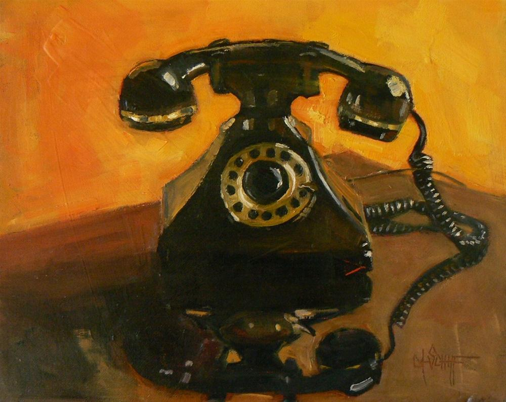 """Small Still Life Painting, Hello?  Who's Calling? 8x10 Original Oil Painting"" original fine art by Carol Schiff"