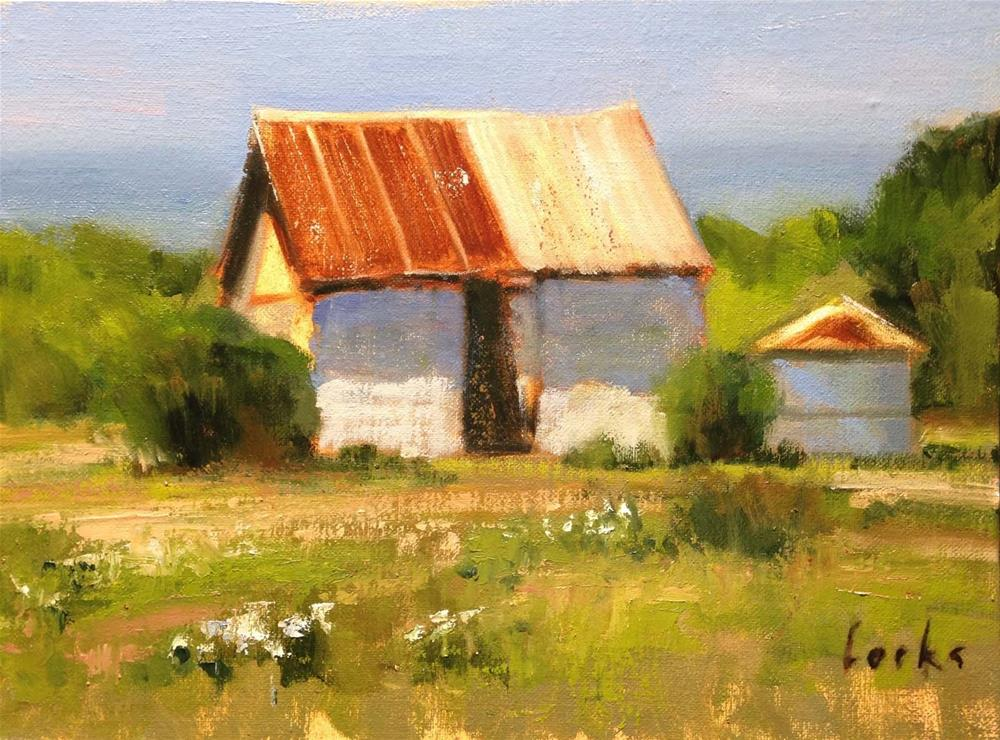 """Outbuildings near Johnson City"" original fine art by David Forks"
