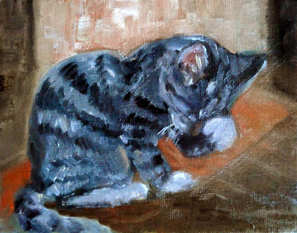 """Clean Kitty"" original fine art by Cietha Wilson"