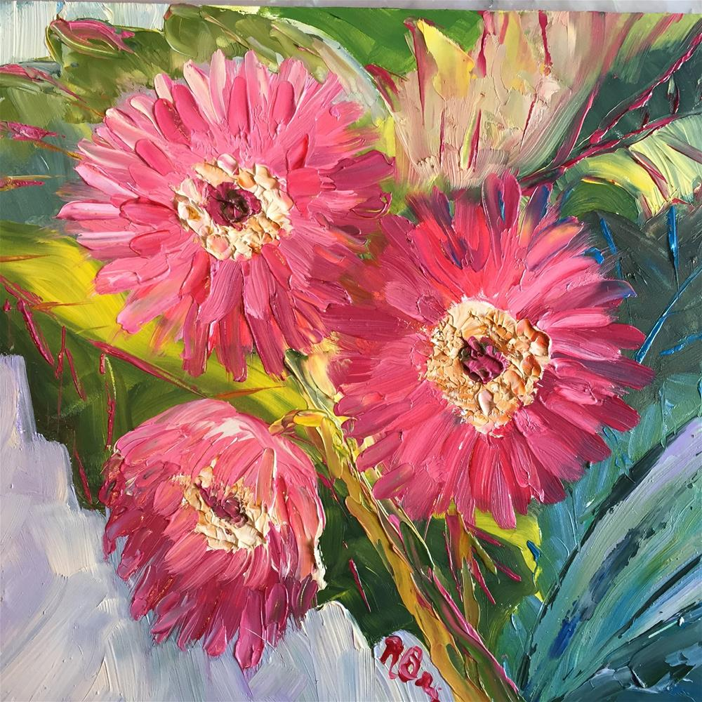 """The Pink Zinnias"" original fine art by Rose Brenner"