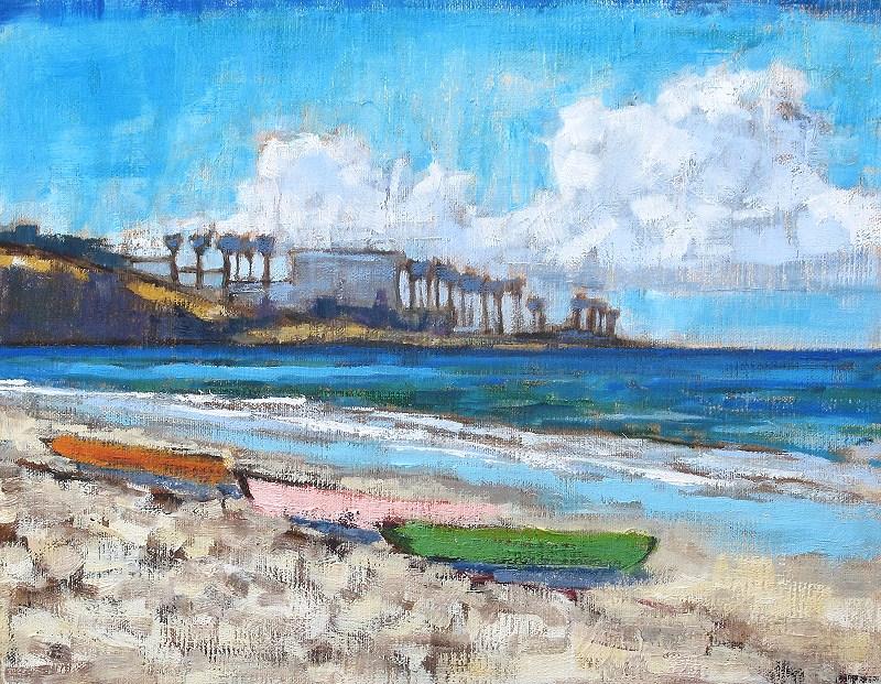 """La Jolla Beach Kayaks"" original fine art by Kevin Inman"