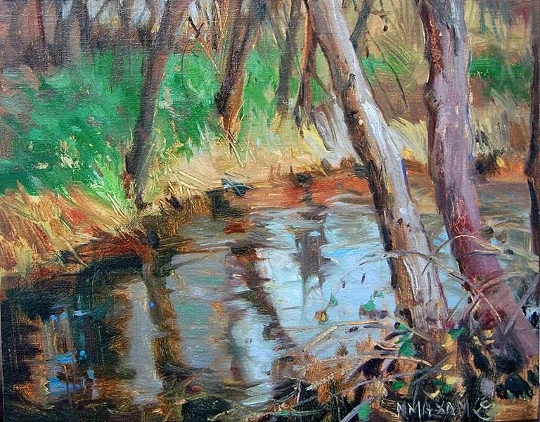 """Early Spring Creek"" original fine art by Mary Maxam"