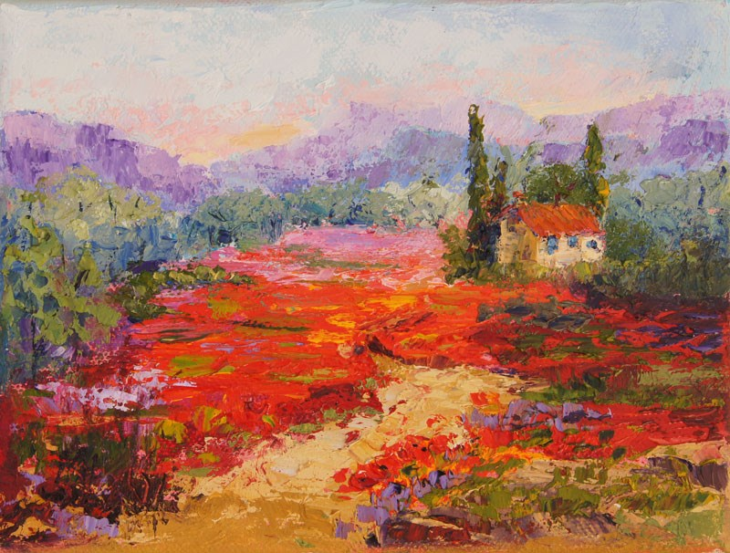"""Poppy Flower Carpet palette knife painting"" original fine art by Marion Hedger"