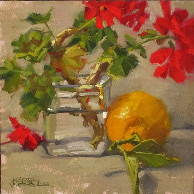 """Lemon With Geraniums"" original fine art by Karen Werner"