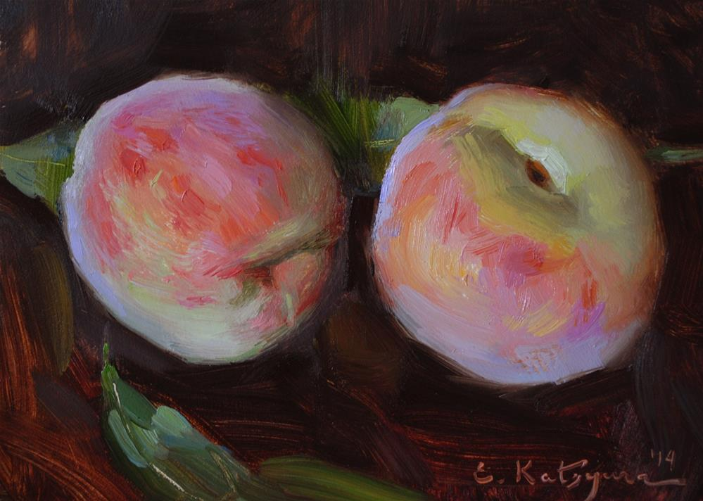 """July Peaches"" original fine art by Elena Katsyura"