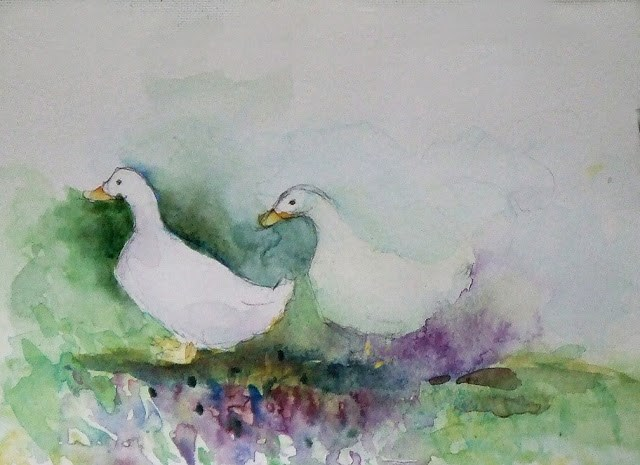 """What are you quacking?"" original fine art by Mitsuru Cope"