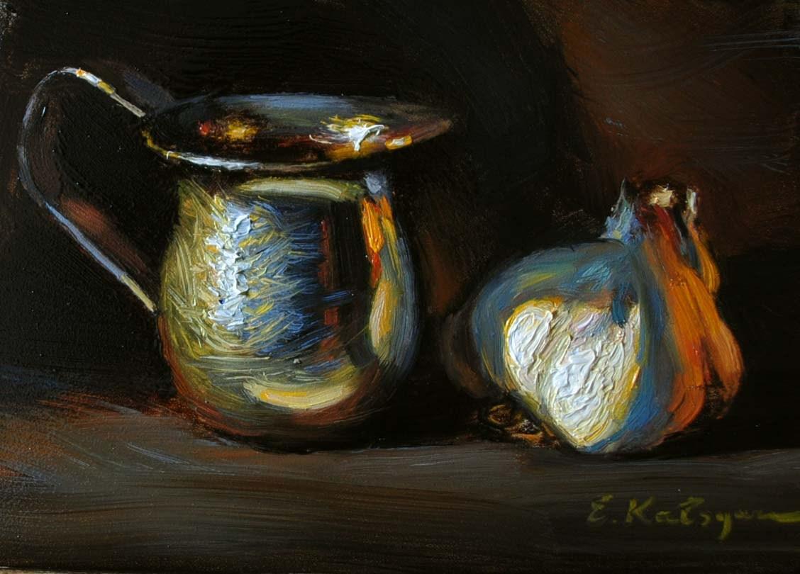 """By the Fireplace"" original fine art by Elena Katsyura"