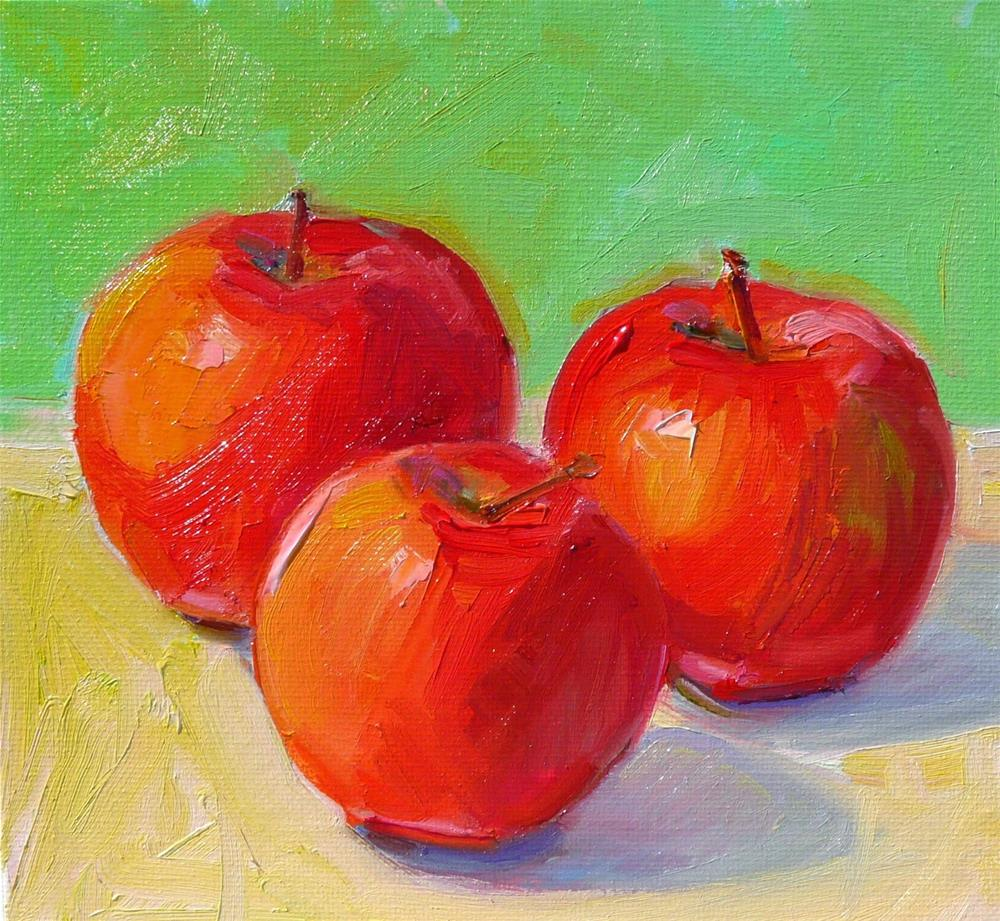 """Apples in Winter,still life,oil on canvas,8x8,price$275"" original fine art by Joy Olney"