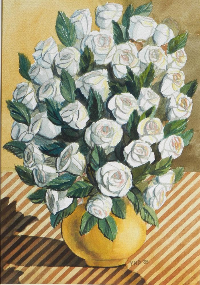 """White Rose Boquet"" original fine art by Velma Davies"