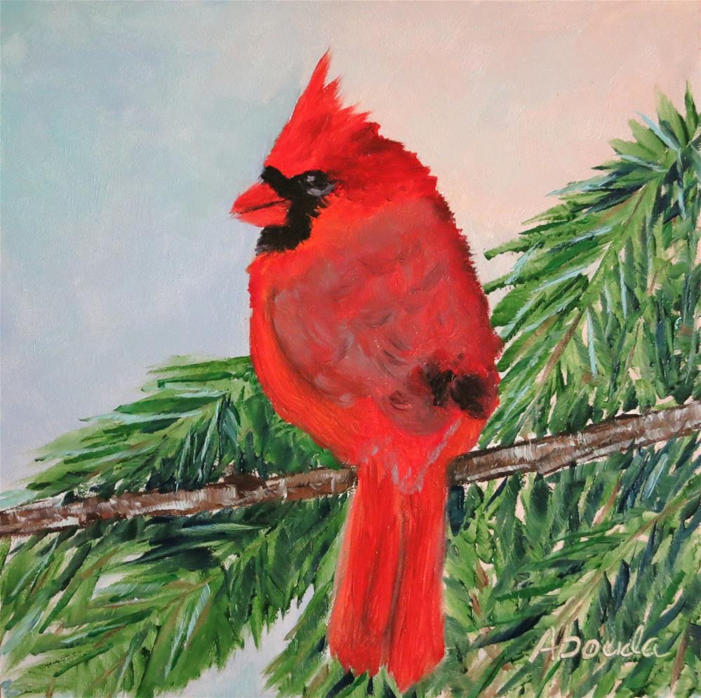 """Cardinal on Pine Branch"" original fine art by Sandy Abouda"