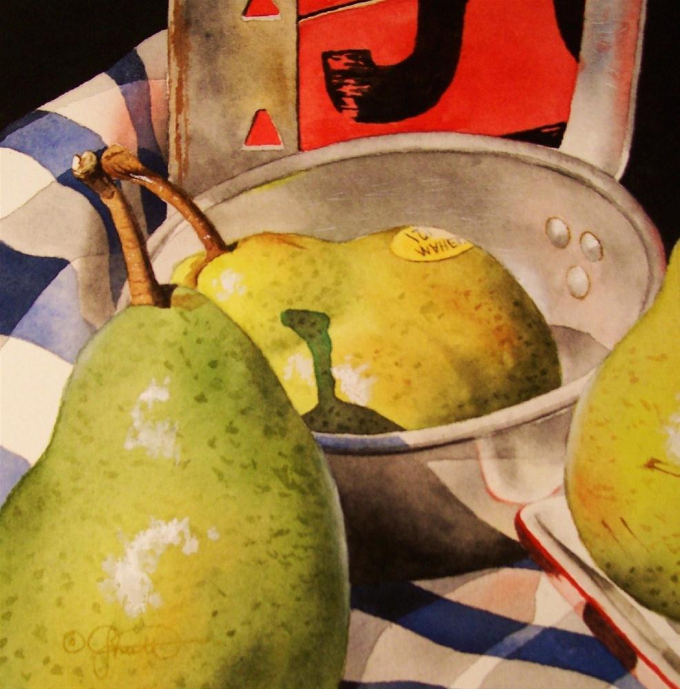 """""""Pear Vignette I"""" original fine art by Jacqueline Gnott, TWSA, WHS"""
