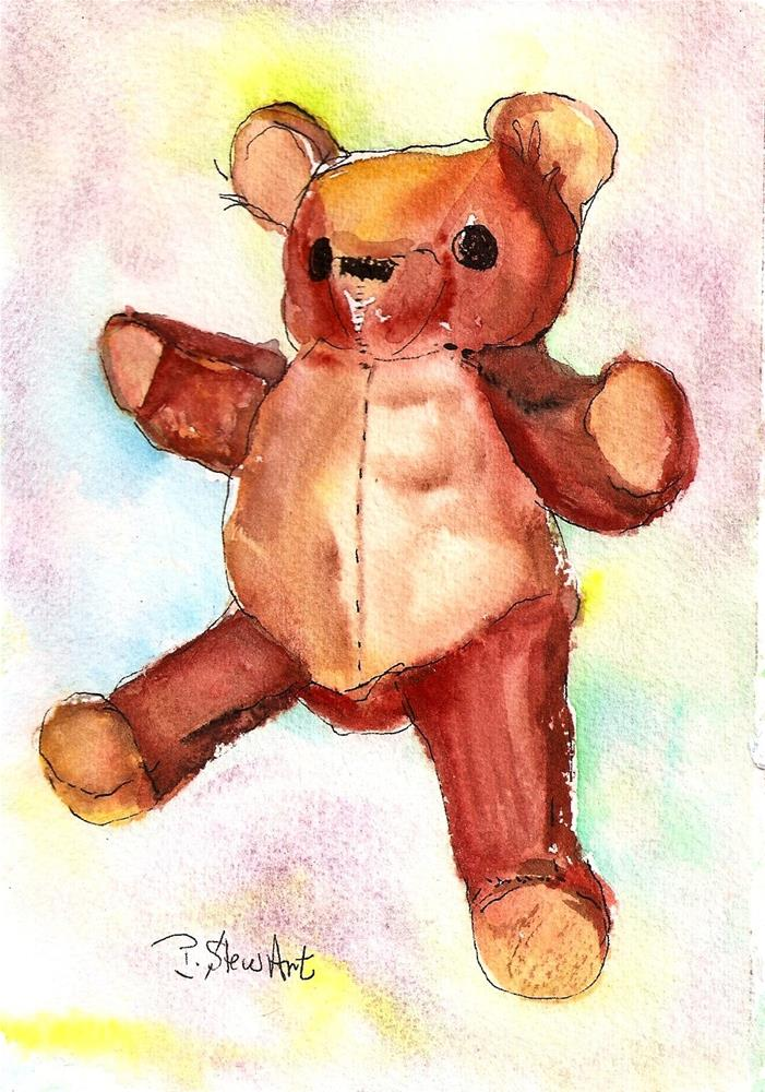 """5x7 Teddy Bear Painting Watercolor Original Stuffed Toy Art SFA Penny StewArt"" original fine art by Penny Lee StewArt"