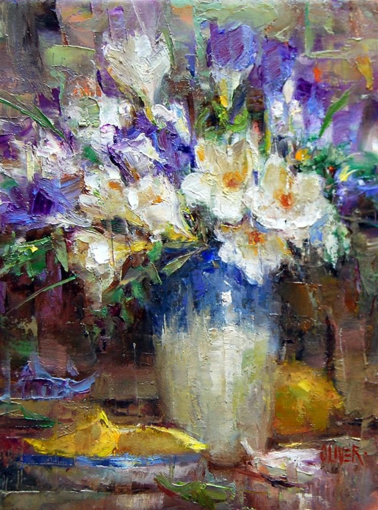 """Freesias and Lemons"" original fine art by Julie Ford Oliver"