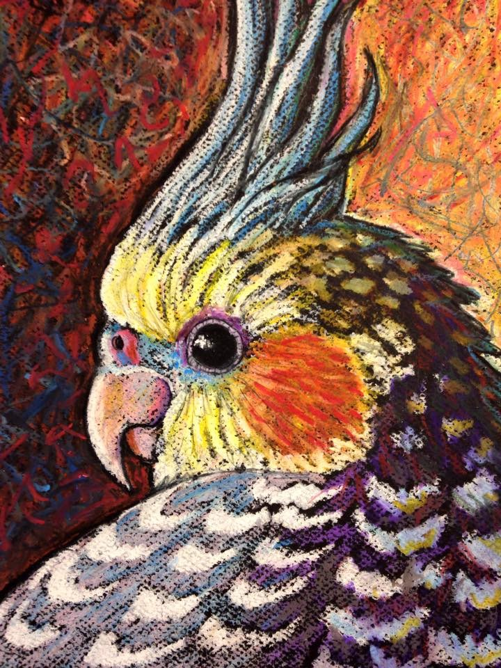"""Cockatiel Portrait"" original fine art by Ande Hall"