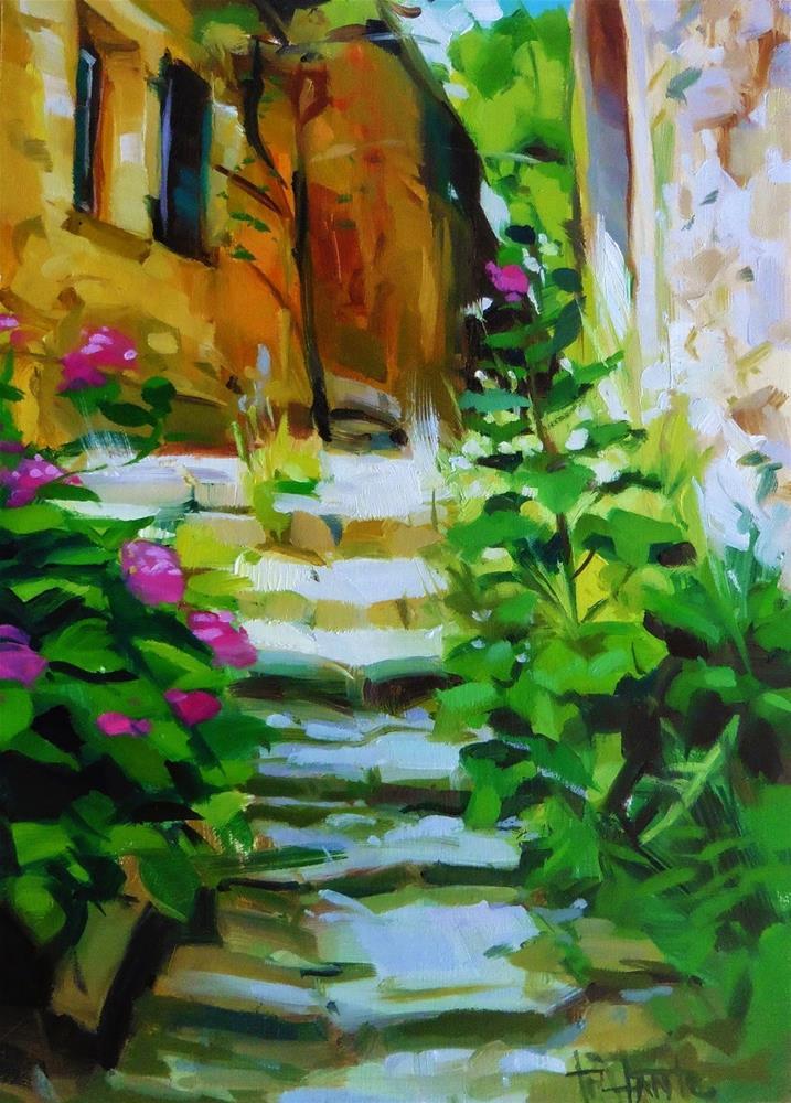 """Lighted stairs"" original fine art by Víctor Tristante"