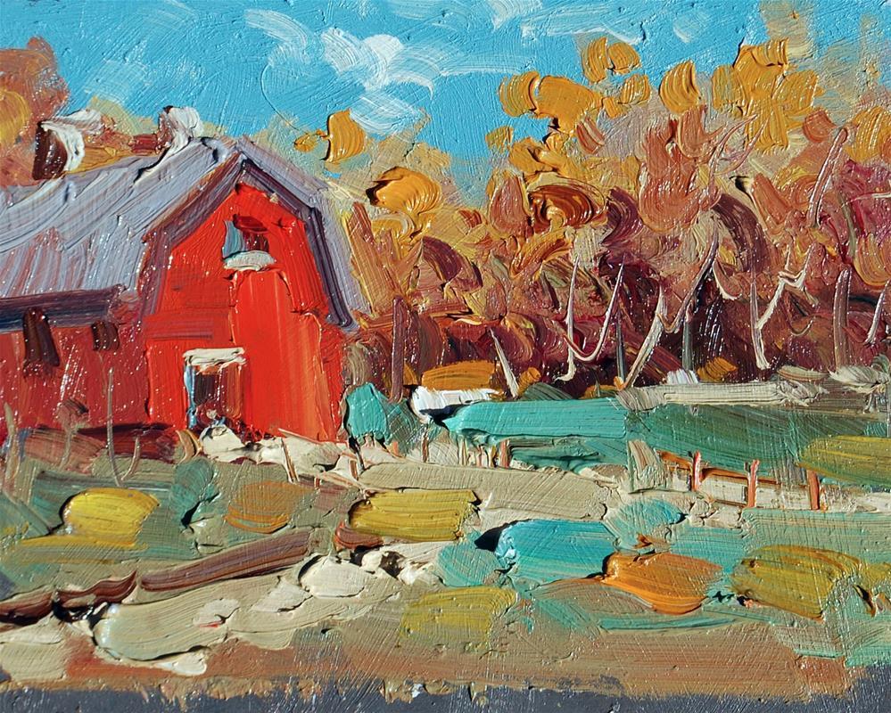 """Old Red Barn"" original fine art by Mahin Gholizadeh"