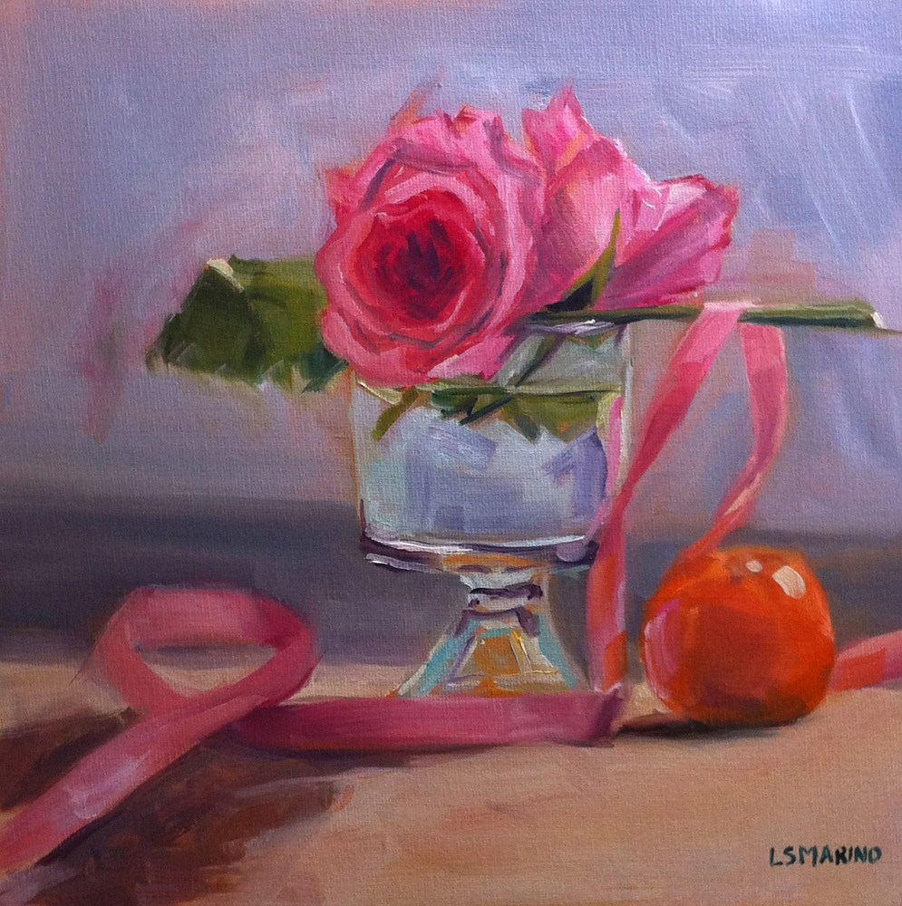 """Rose, Pink Ribbon and Orange"" original fine art by Linda Marino"