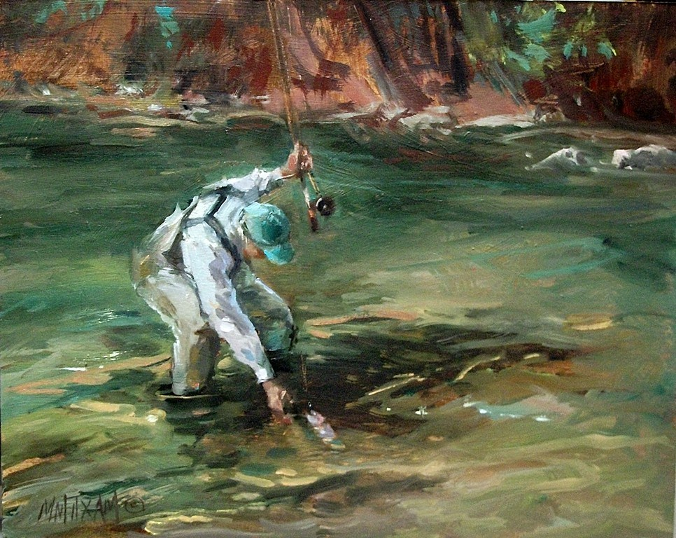 """Success! fly fishing and catching, Northwest landscape"" original fine art by Mary Maxam"