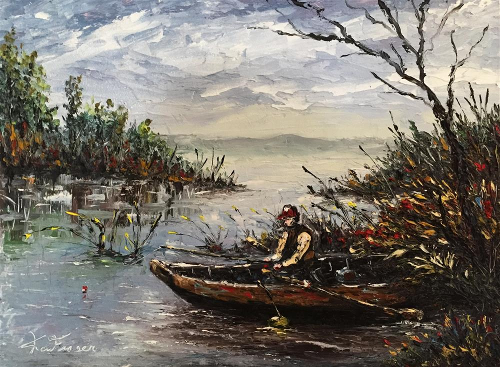 """Backwater Fishing"" original fine art by Ken Fraser"
