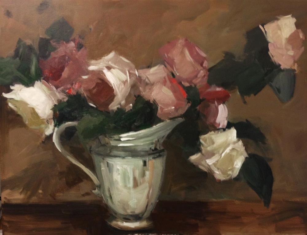 """Roses and silver"" original fine art by Parastoo Ganjei"