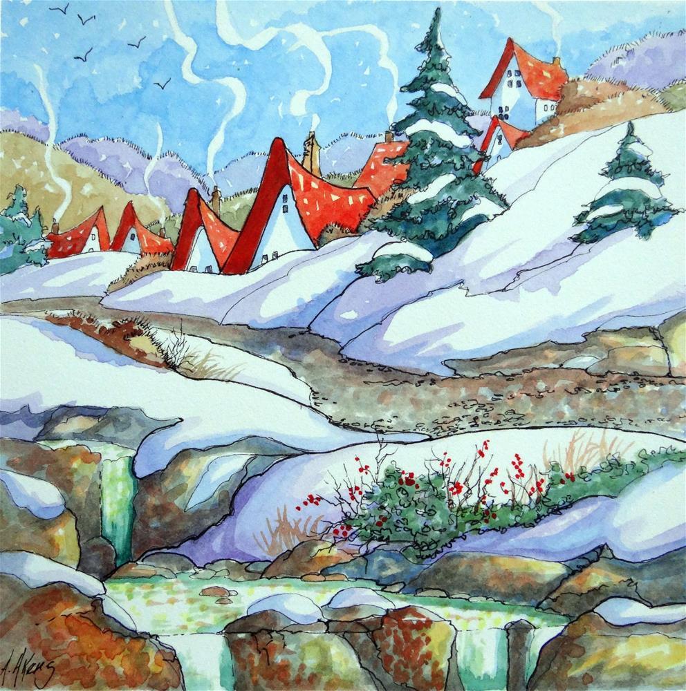 """Winter Way Storybook Cottage Series"" original fine art by Alida Akers"