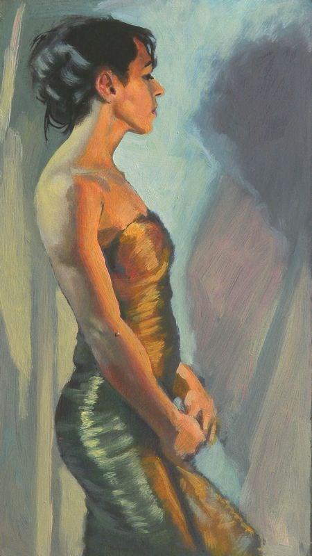 """""""Golden dress"""" original fine art by Peter Orrock"""