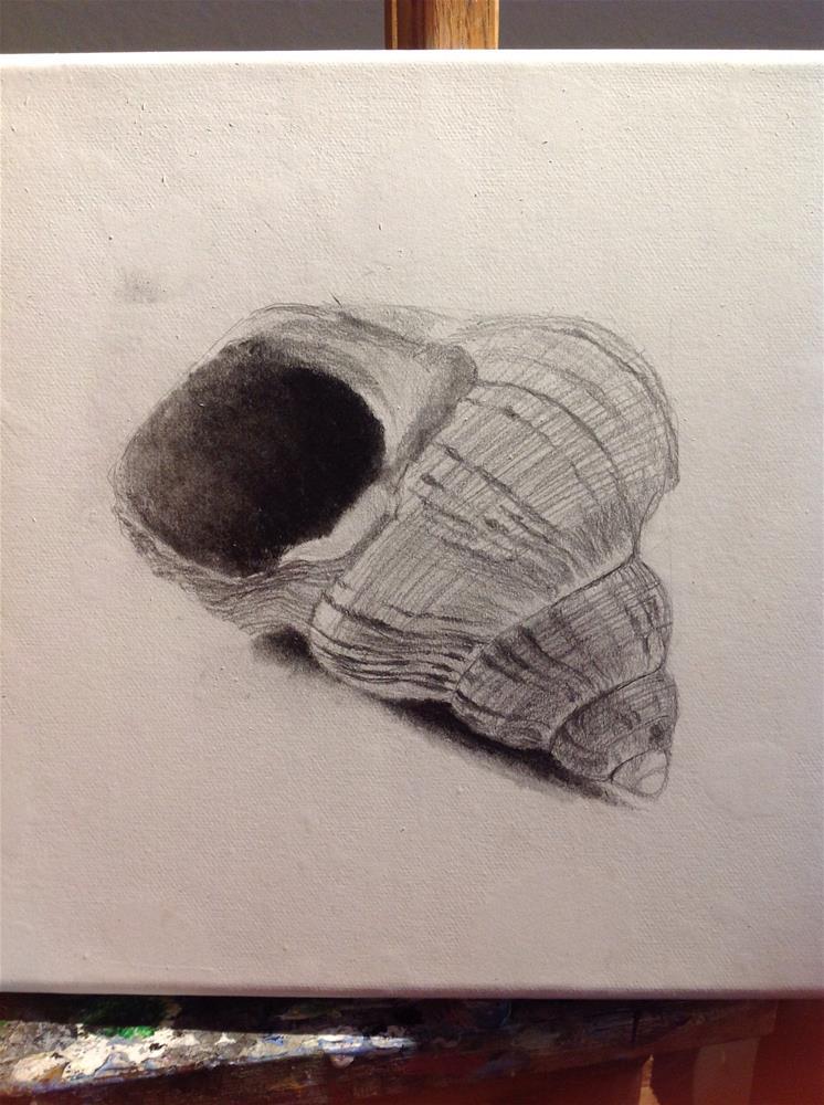 """""""10 x 10 oil """"Echoes from the sea"""" work in progress"""" original fine art by Paulo Jimenez"""