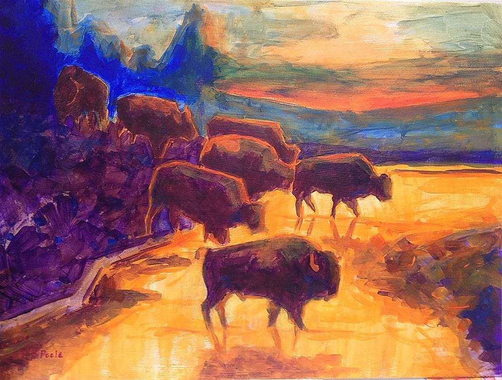 """Western Buffalo Art Seven Bison Sunset Reflections painting Bertram Poole"" original fine art by Bertram Poole"
