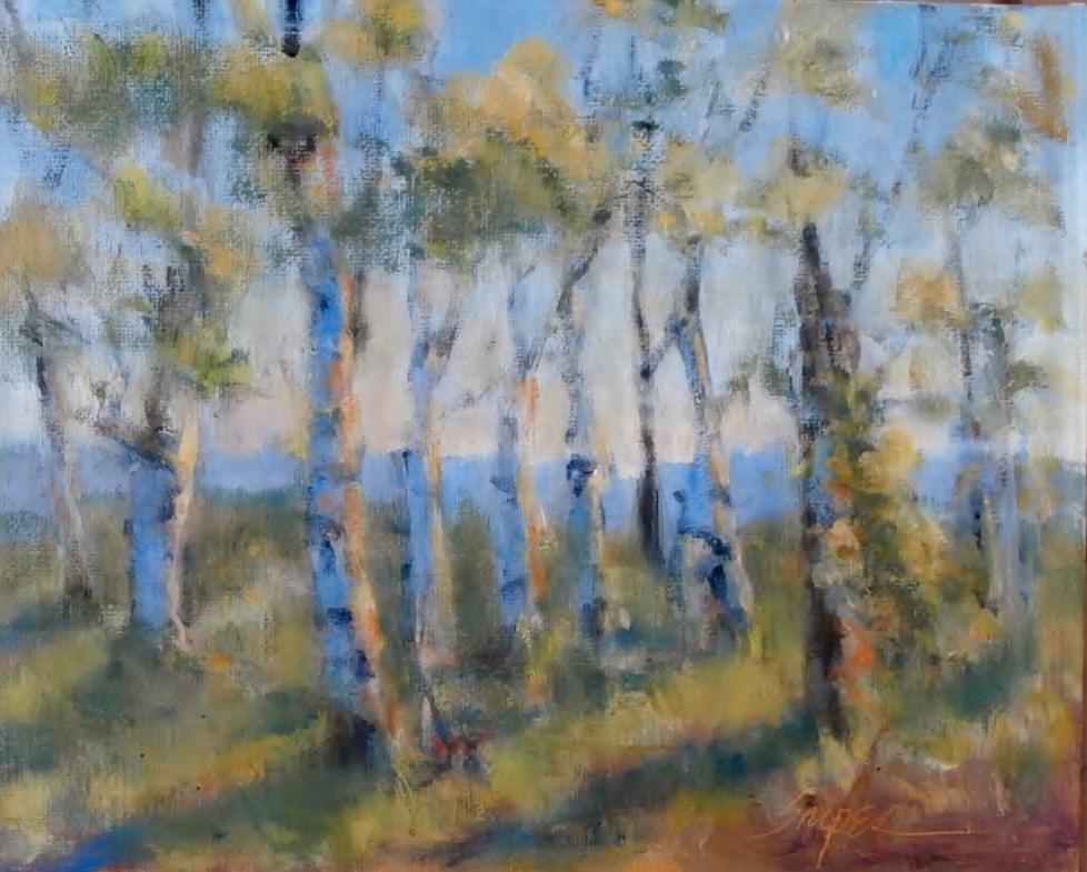 """Sunlit Aspens, Jackson Hole"" original fine art by Connie Snipes"