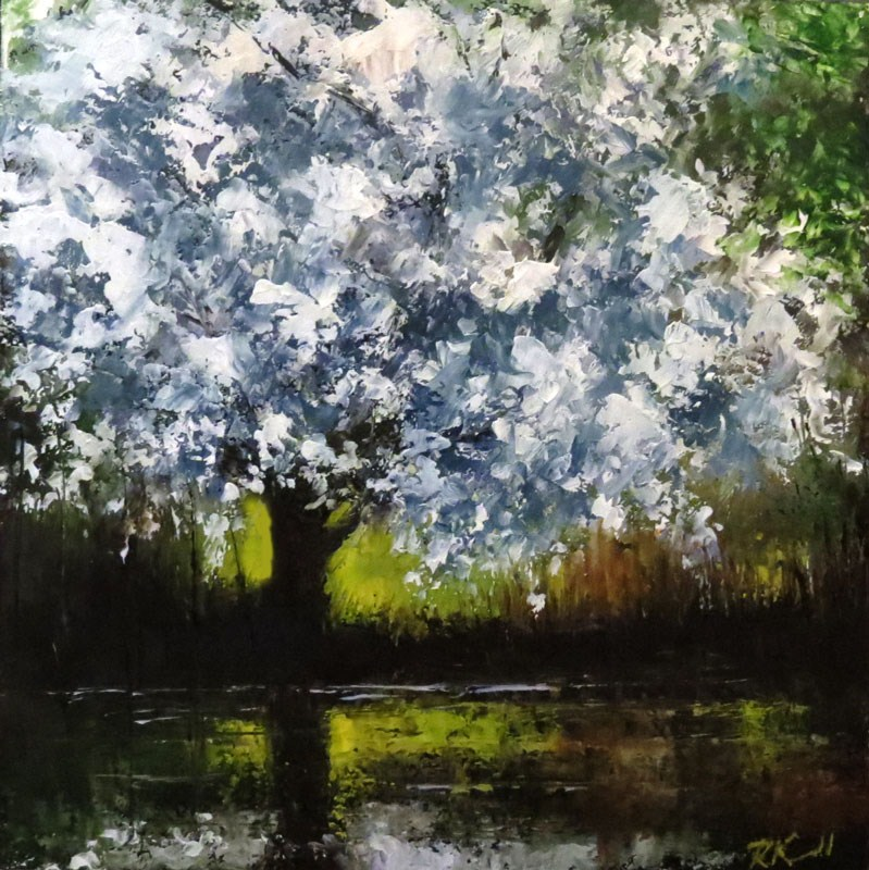 """Lilac Tree by the Pond"" original fine art by Bob Kimball"