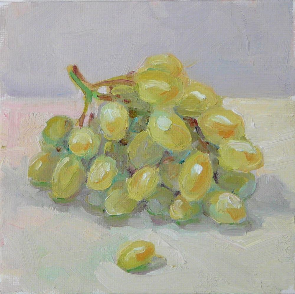 """Large Green Grapes,still life,oil on canvas,6x6,price$200"" original fine art by Joy Olney"