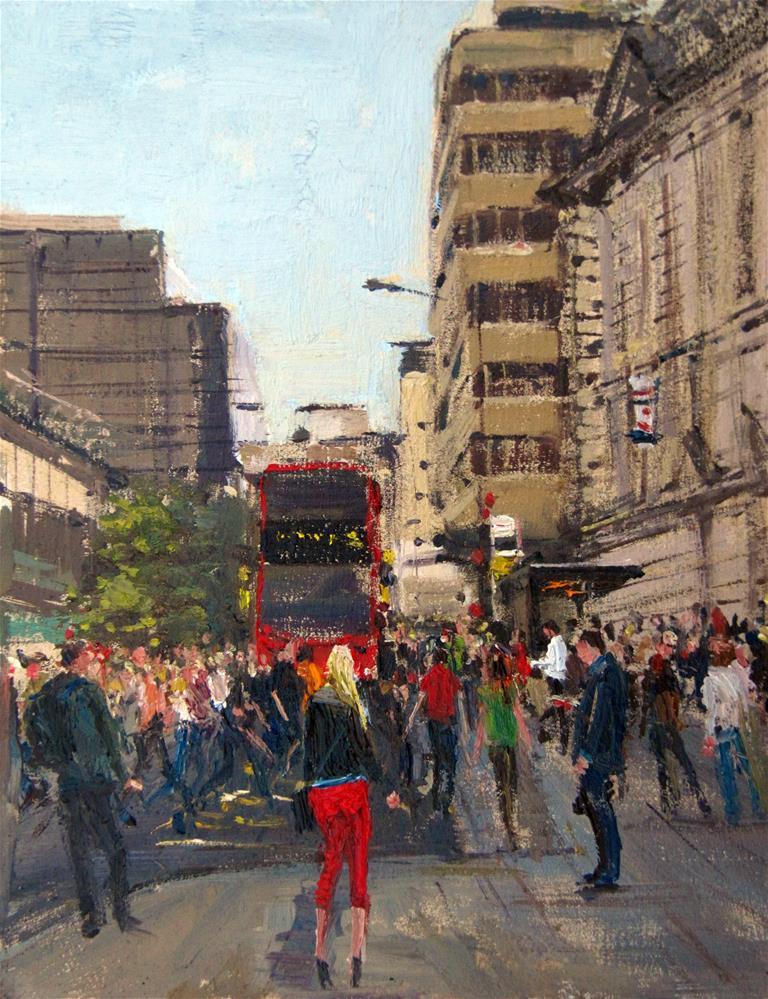 """Rush Hour,  Vicoria Station, london, urban, oil on board."" original fine art by Adebanji Alade"